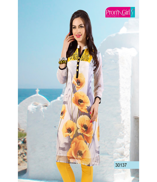 Yellow flower printed kurti