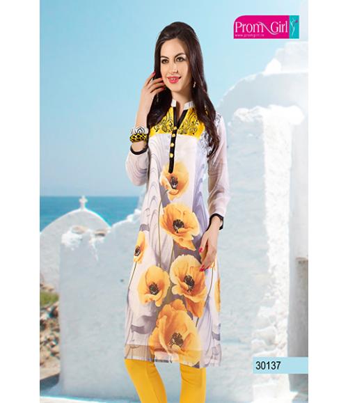 Yellow flower printed kurti