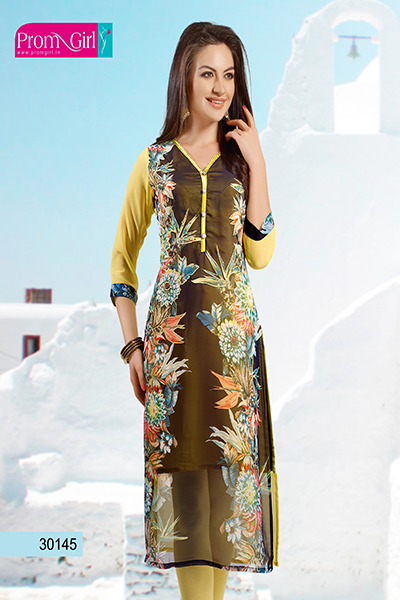 Yellow and brown kurti