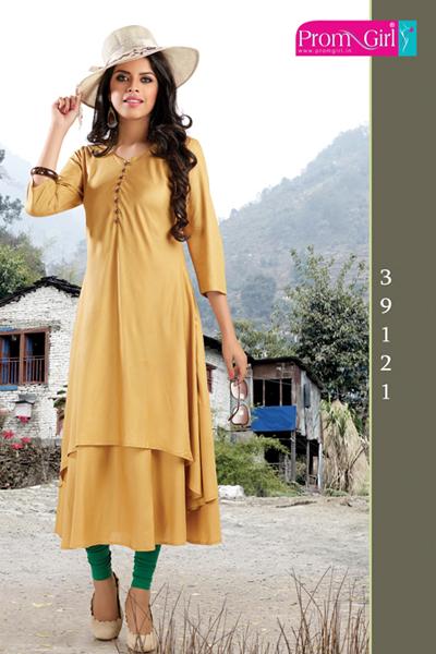 Yellow Silk Kurti